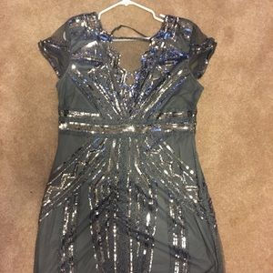 1920's inspired gray sequin party dress
